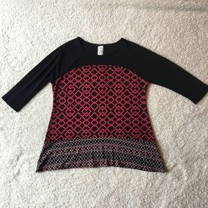 PerSeption PS Black & Red Blouse Like New